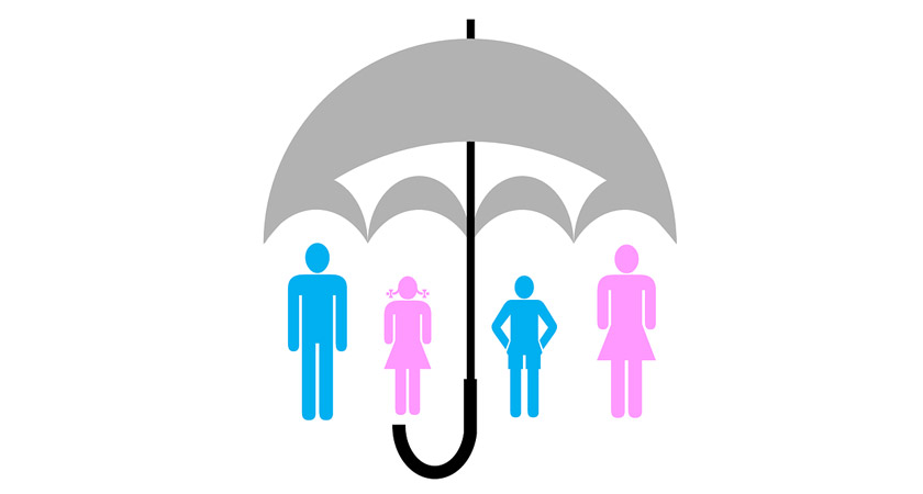 People under an umbrella